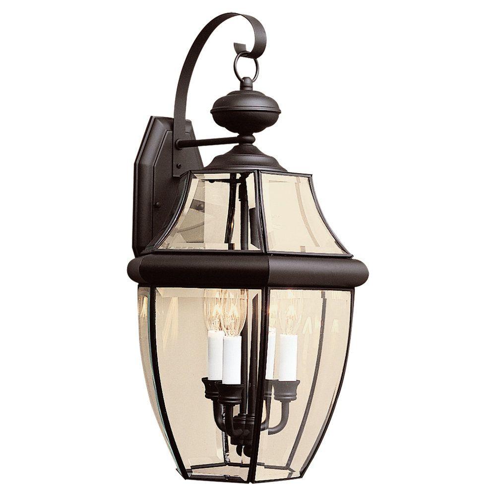 Lumière Seagull fixée au mur à trois ampoules avec abat-jour clair, Fini noir