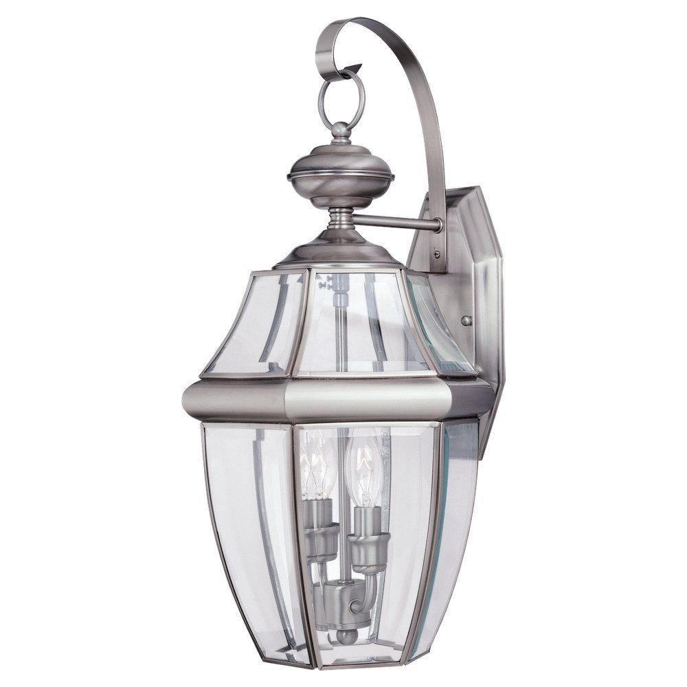 2-Light Antique Brushed Nickel Outdoor Wall Lantern