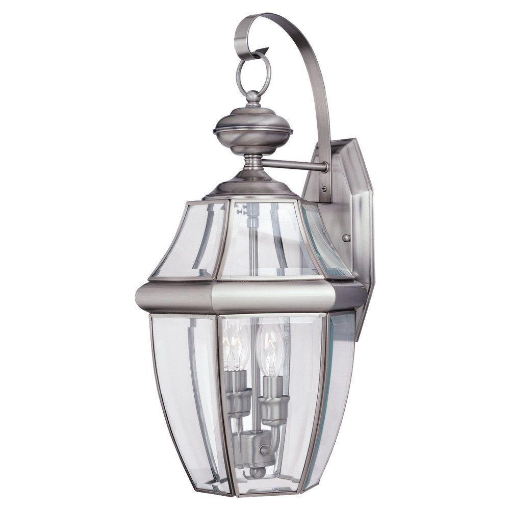 Sea Gull Lighting 2-Light Antique Brushed Nickel Outdoor Wall Lantern