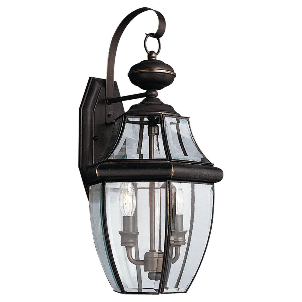 2-Light Antique Bronze Outdoor Wall Lantern