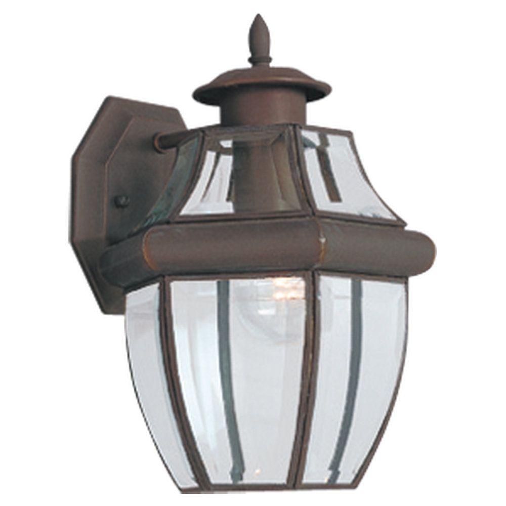 1 Light Antique Bronze Incandescent Outdoor Wall Lantern