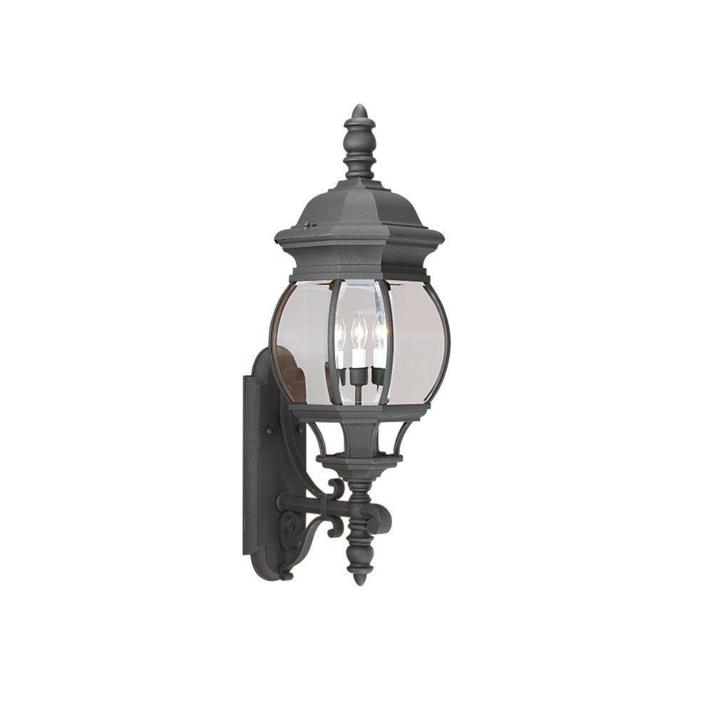 3 Light Black Incandescent Outdoor Wall Lantern