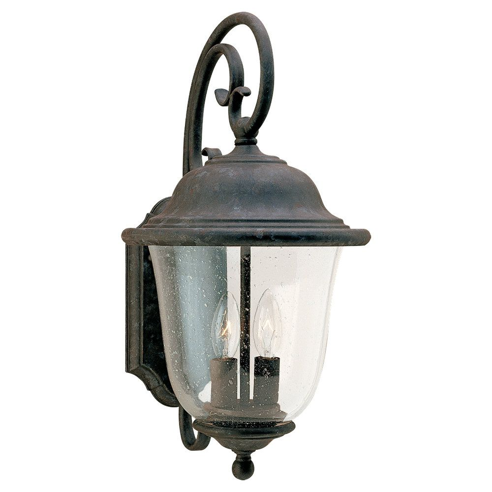 2 Light Oxidized Bronze Incandescent Outdoor Wall Lantern