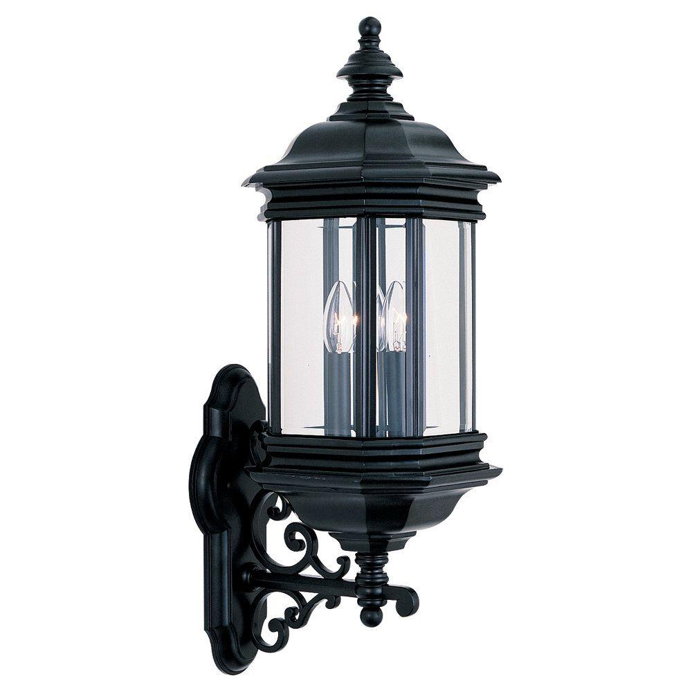 3-Light Black Outdoor Wall Lantern