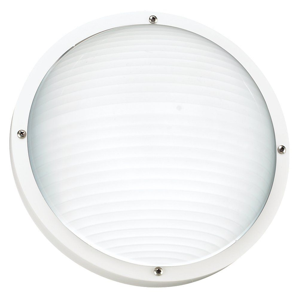 1 Light White Fluorescent Outdoor Wall Or Ceiling Fixture