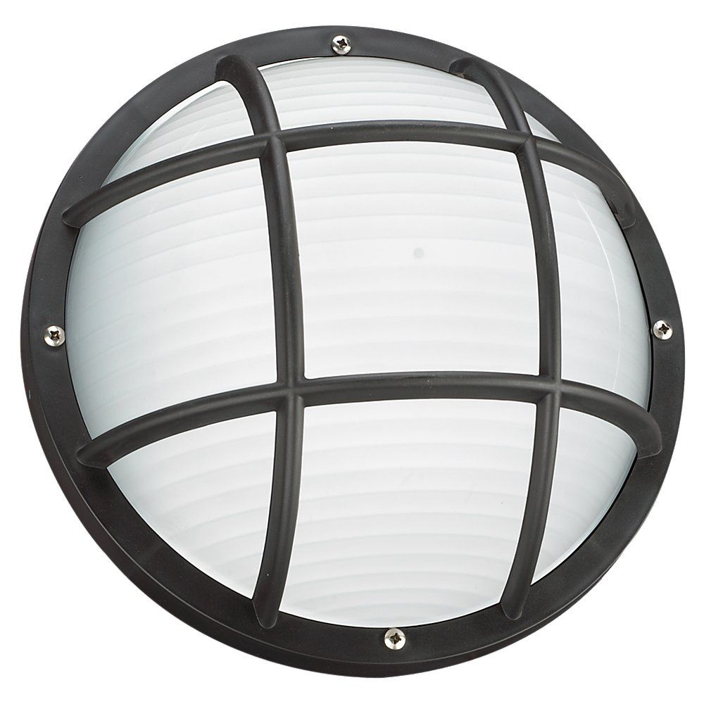 1 Light Black Fluorescent Outdoor Wall Or Ceiling Fixture