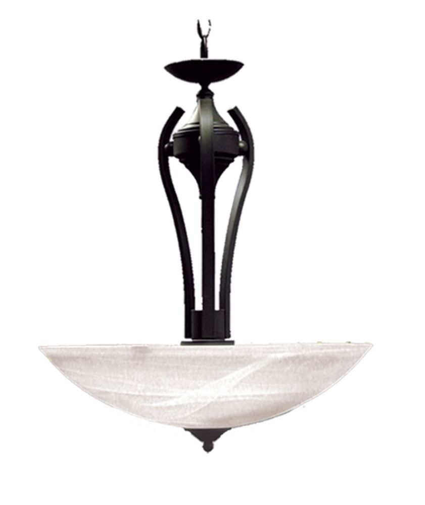 3 Light Pendant with Alabaster Glass and an English Bronze Finish