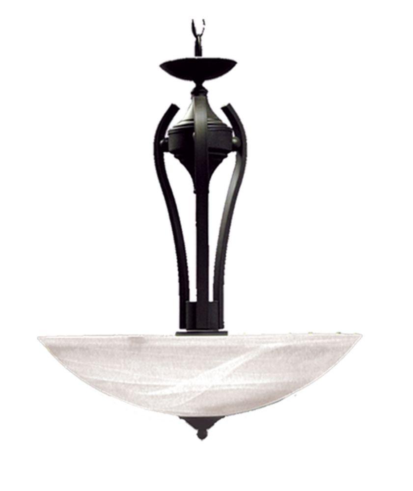 3 La lumière Pendant avec Verre Albâtre et un Anglais Bronze Terminer