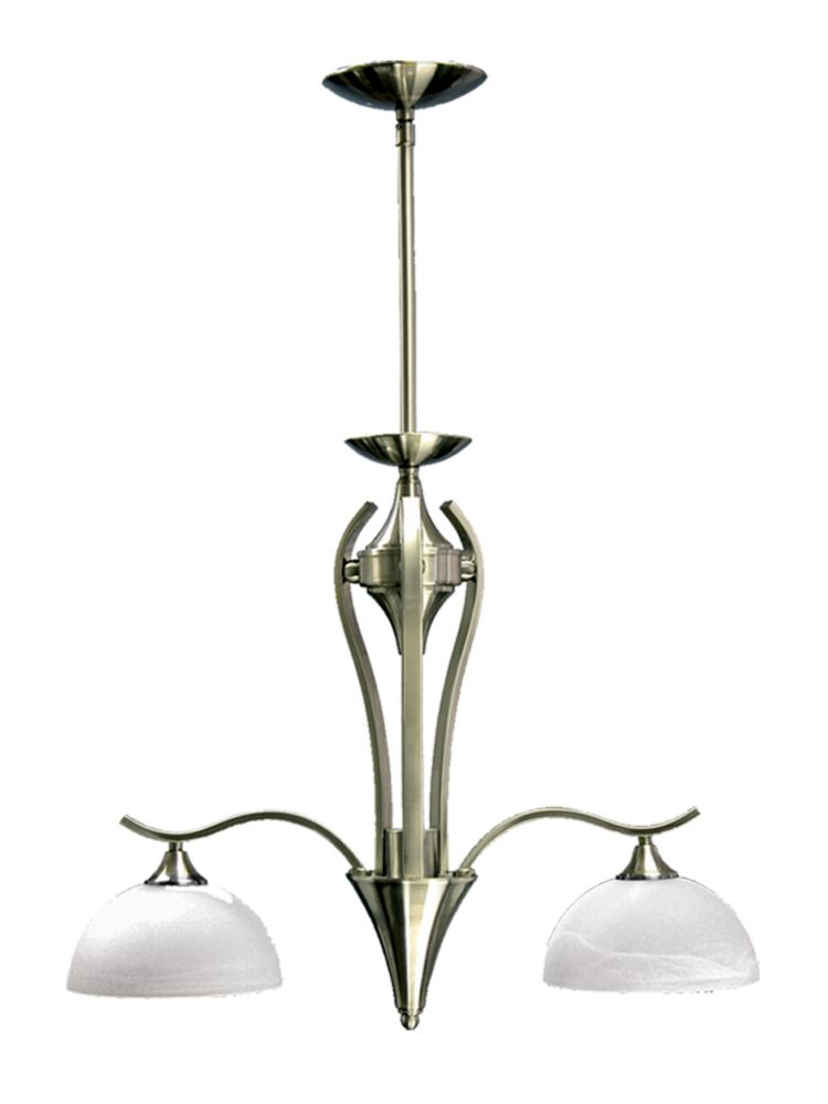 2 Light Chandelier with Alabaster Glass and a Satin Chrome Finish