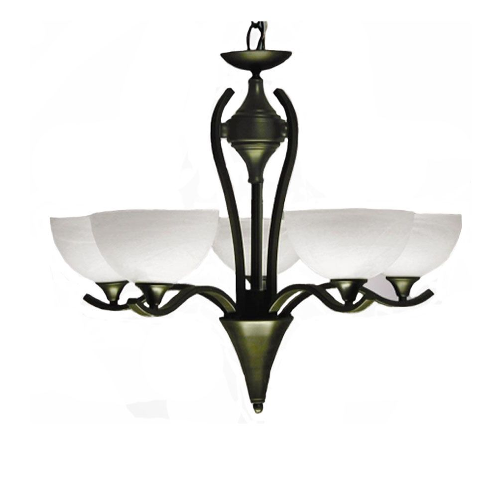 5 Light Chandelier with Alabaster Glass and an English Bronze Finish