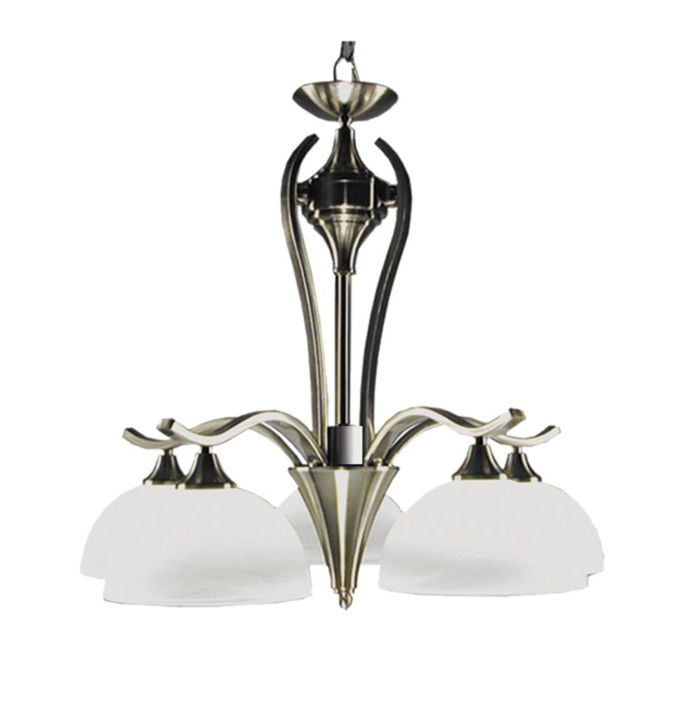 5 Light Chandelier with Alabaster Glass and a Satin Chrome Finish