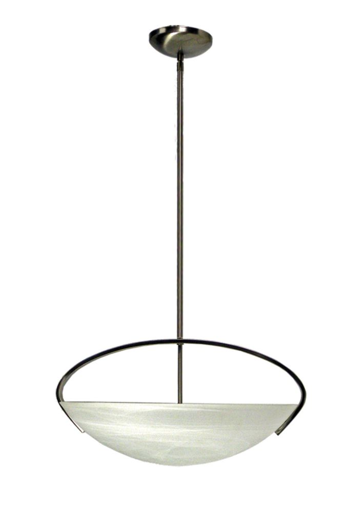 3 Light Chandelier with Alabaster Glass and a Satin Chrome Finish