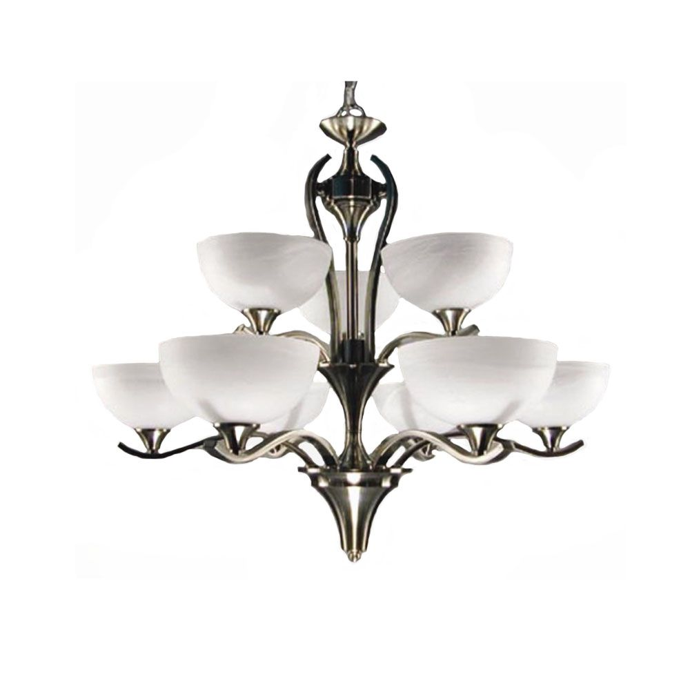 9 Light Chandelier with Alabaster Glass and a Satin Chrome Finish