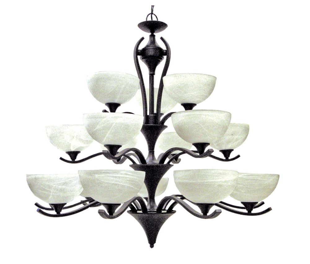 18 Light Chandelier with Alabaster Glass and an English Bronze Finish