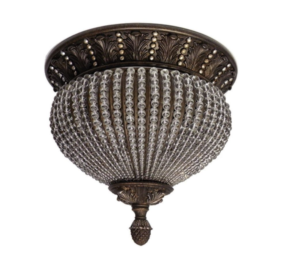 2 Light Ceiling Mount with Glass and a Beads Antique Brass Silver Finish