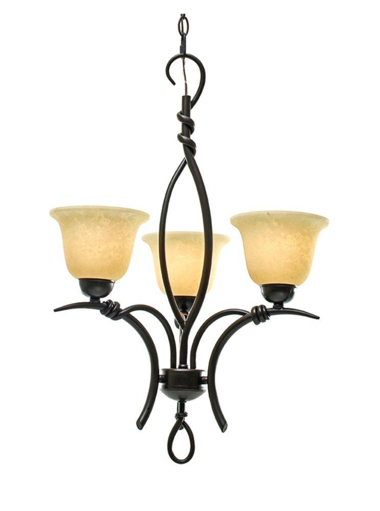 3 La lumière Lustre avec Beige Scavo Verre et un doré Bronze Terminer