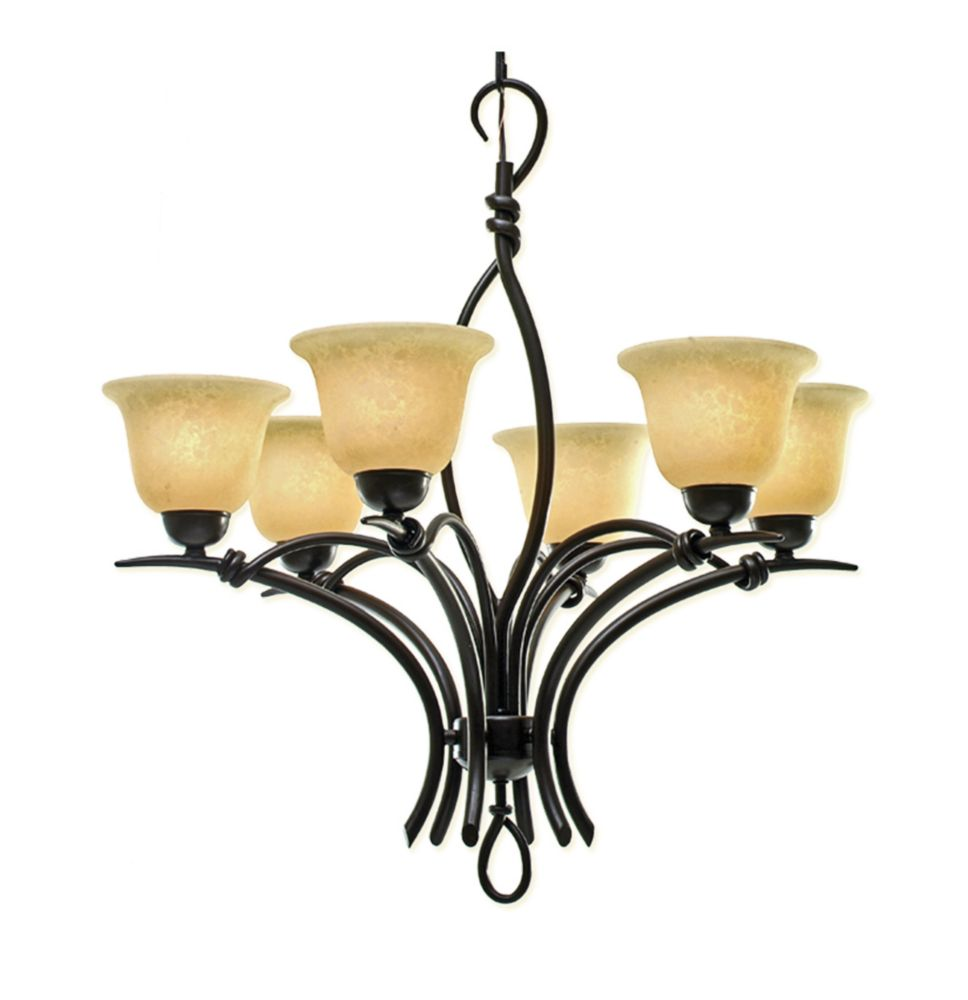 6 Light Chandelier with Beige Scavo Glass and a Golden Bronze Finish