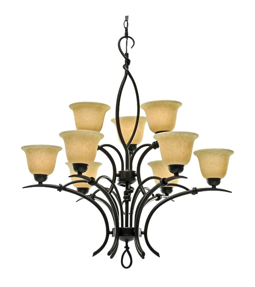 9 Light Chandelier with Beige Scavo Glass and a Golden Bronze Finish