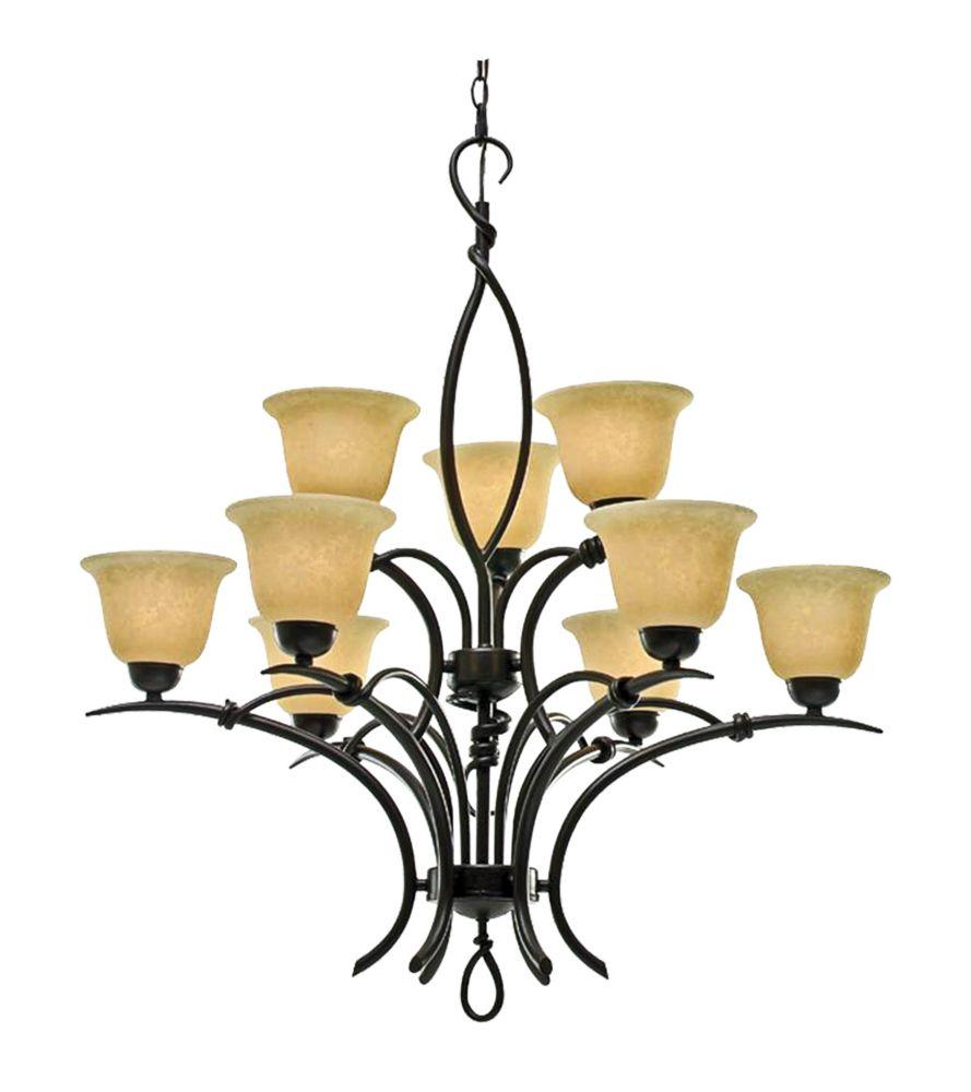 9 La lumière Lustre avec Beige Scavo Verre et un doré Bronze Terminer