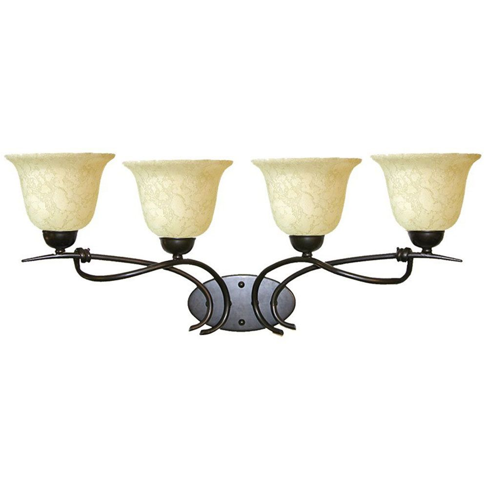 4 Light Vanity Light with Beige Scavo Glass and a Golden Bronze Finish