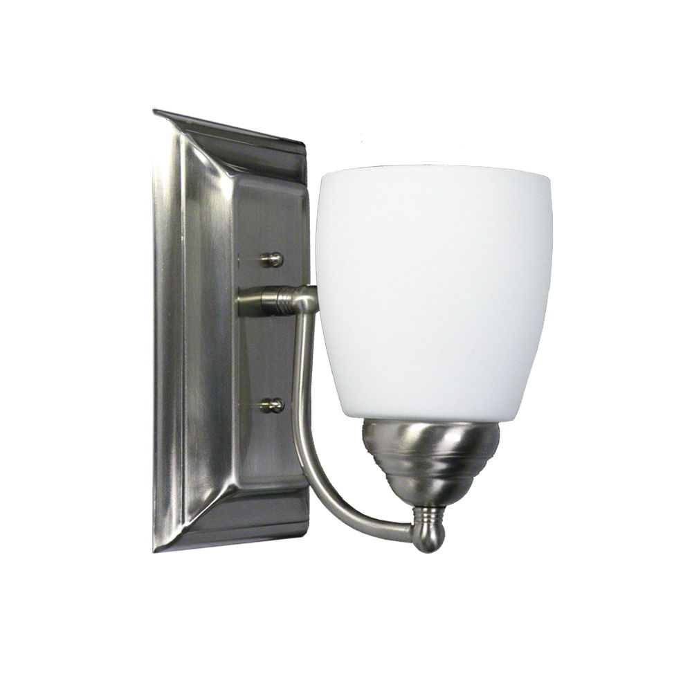 1 Light Vanity Light with Satin Opal Glass and a Satin Chrome Finish