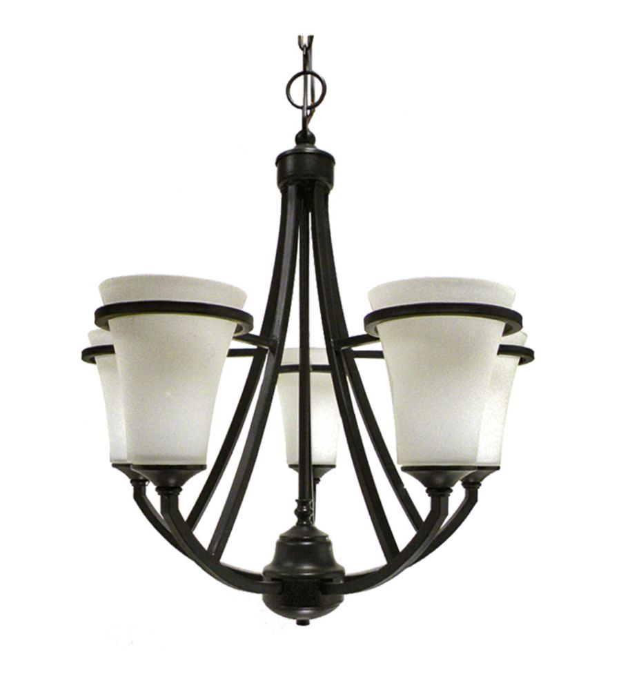 5 Light Chandelier with Satin Opal Glass and an Antique Bronze Finish