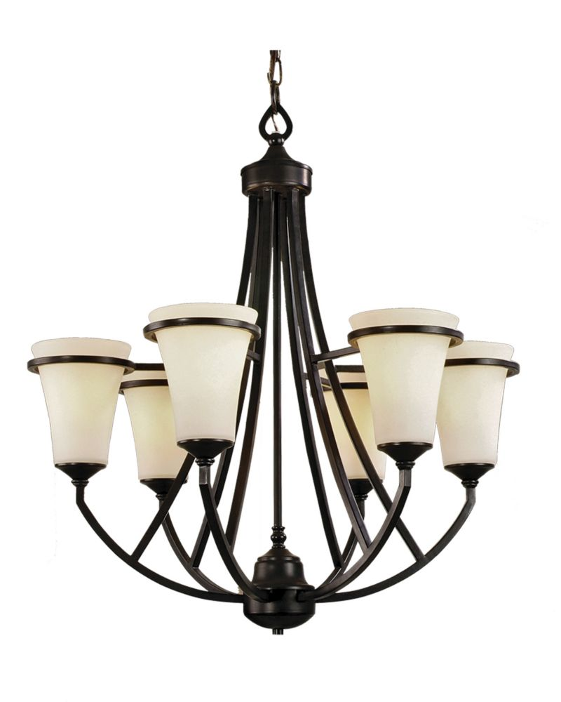 6 Light Chandelier with Satin Opal Glass and an Antique Bronze Finish