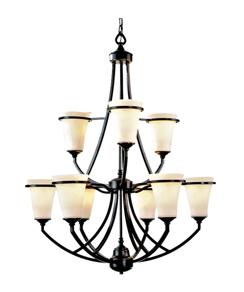 9 Light Chandelier with Satin Opal Glass and an Antique Bronze Finish
