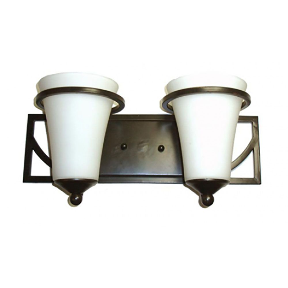 2 Light Vanity Light with Satin Opal Glass and an Antique Bronze Finish