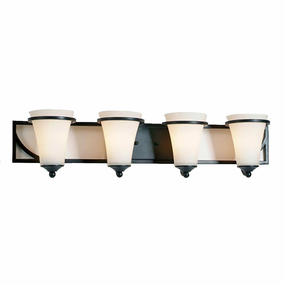 4 Light Vanity Light with Satin Opal Glass and an Antique Bronze Finish