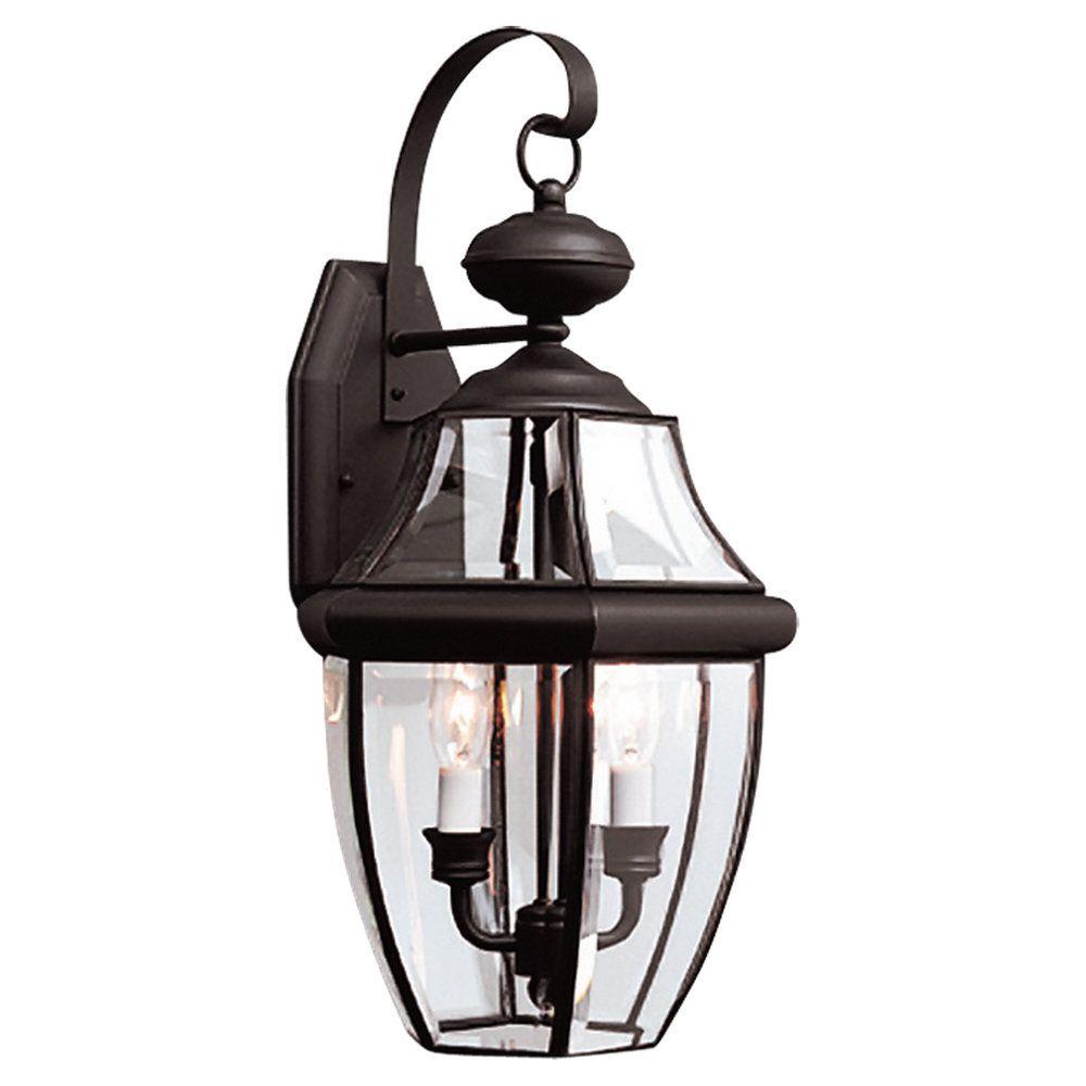 2 Light Black Incandescent Outdoor Wall Lantern