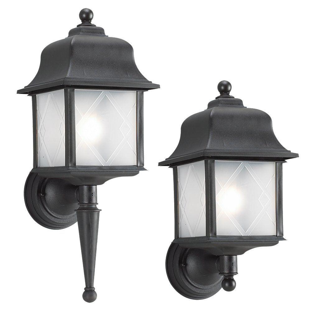 Lumière Seagull fixée au mur à une ampoule avec abat-jour givré, Fini noir