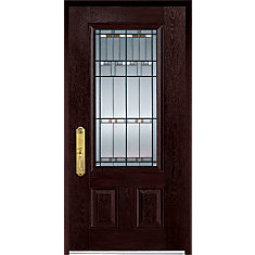 Charming 37.375 Inch X 82.375 Inch Chicago Patina 3/4 Lite 2 Panel Prefinished Dark