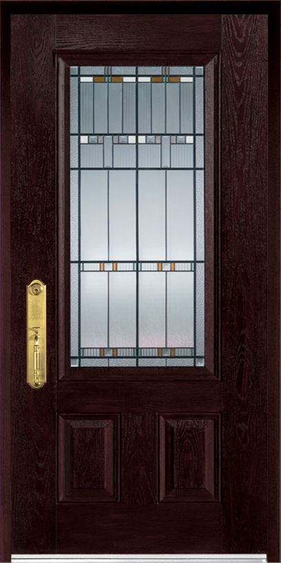 36-inch x 80-inch Fibermax 1500E-R Dark Oak Righthand Hinged Fiberglass Pre-Finished Door and Fra...