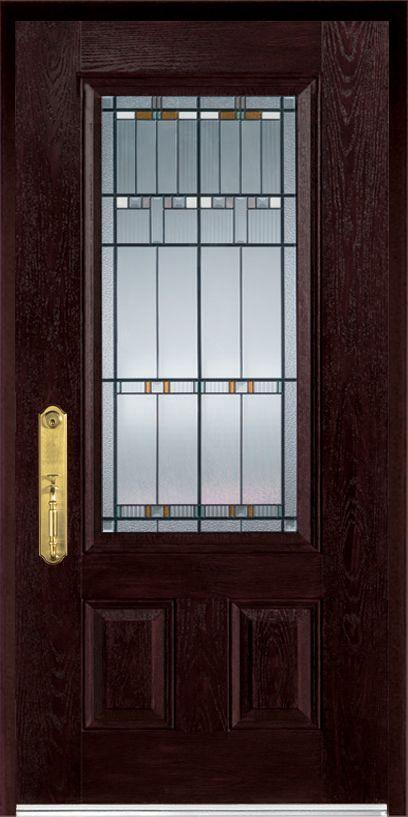 Stanley Doors 37.375 inch x 82.375 inch Chicago Patina 3/4 Lite 2-Panel Prefinished Dark Oak Right-Hand Inswing Fiberglass Prehung Front Door - ENERGY STAR®