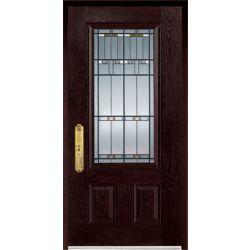 """Stanley Doors FiberMax 1500E-R, Porte Fibre de verre au fini chêne foncé 36"""" x 80"""" - préfinie, poignée main droite. - ENERGY STAR®"""