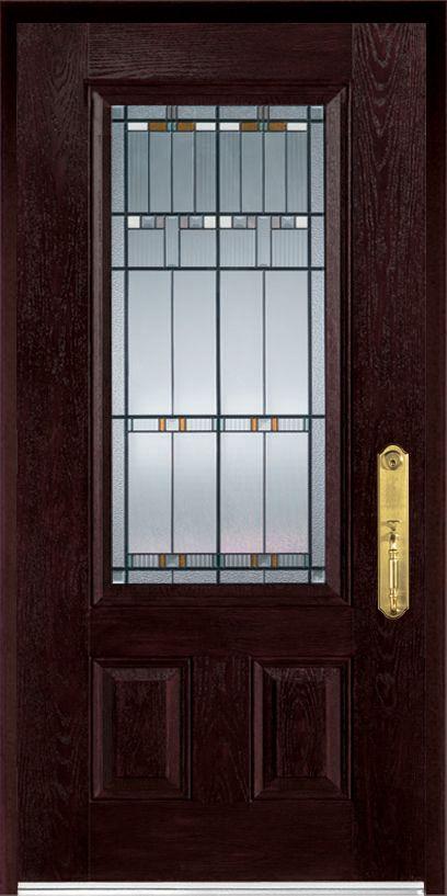 36-inch x 80-inch Fibermax 1500E-L Dark Oak Lefthand Hinged Fiberglass Pre-Finished Door and Fram...