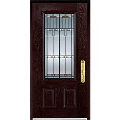 37.375 inch x 82.375 inch Chicago Patina 3/4 Lite 2-Panel Prefinished Dark Oak Left-Hand Inswing Fiberglass Prehung Front Door