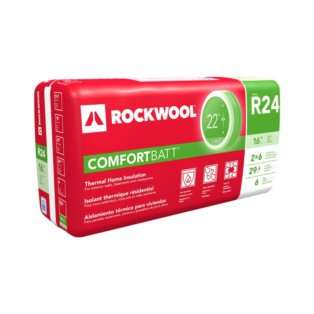 Roxul comfortbatt r24 for 2x6 wood studs 16 inch on for What is a 2x6
