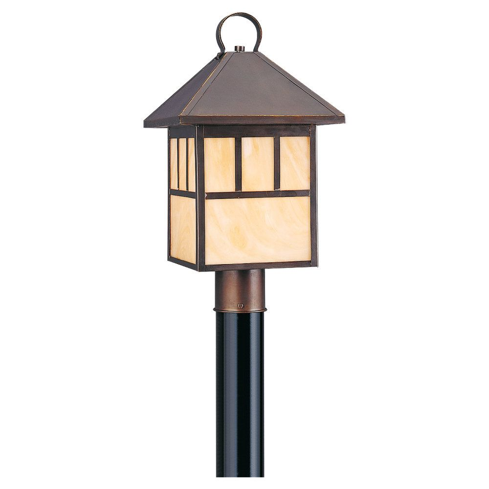 1 Light Antique Bronze Incandescent Outdoor Post Lantern 8207-71 Canada Discount