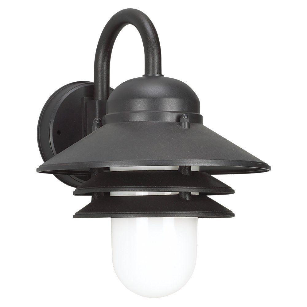 Lumière Seagull fixée au mur à une ampoule avec abat-jour blanc, Fini noir