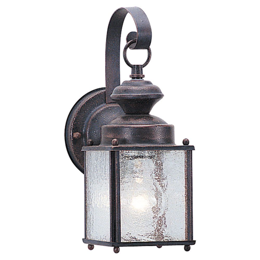 1-Light Textured Rust Patina Outdoor Wall Lantern
