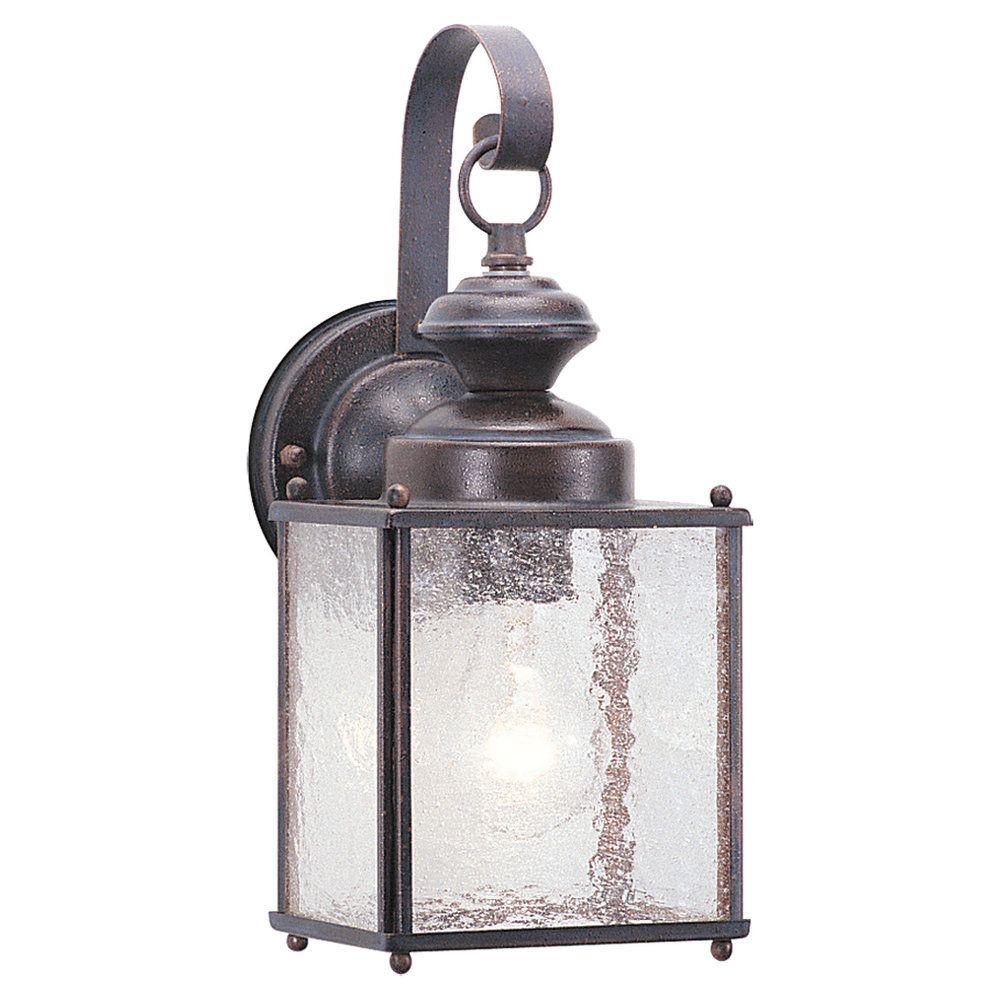 1 Light Textured Rust Patina Incandescent Outdoor Wall Lantern