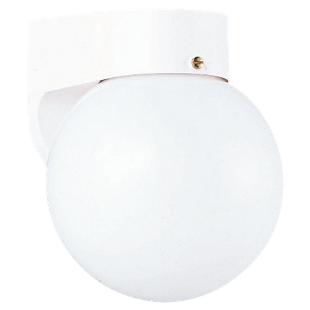 Lumière Seagull fixée au mur à une ampoule avec abat-jour blanc, Fini blanc