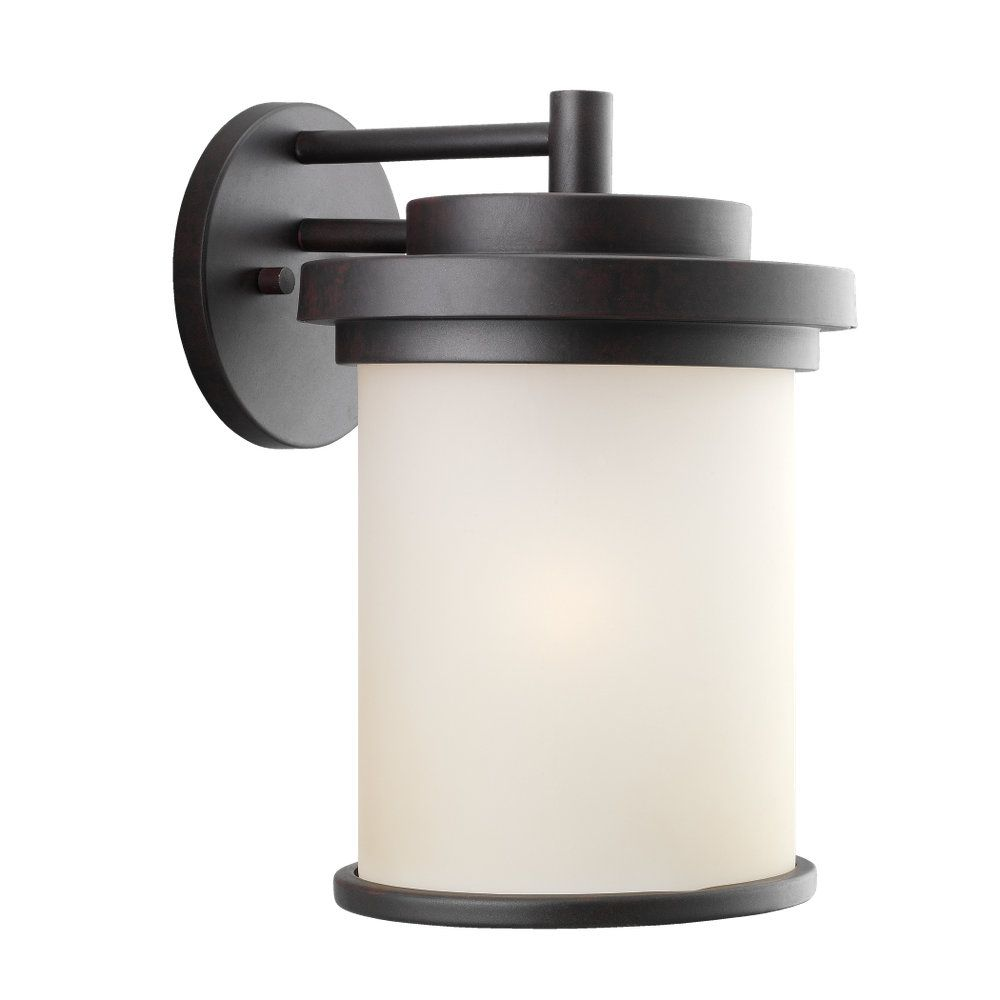 1-Light Misted Bronze Outdoor Wall Lantern
