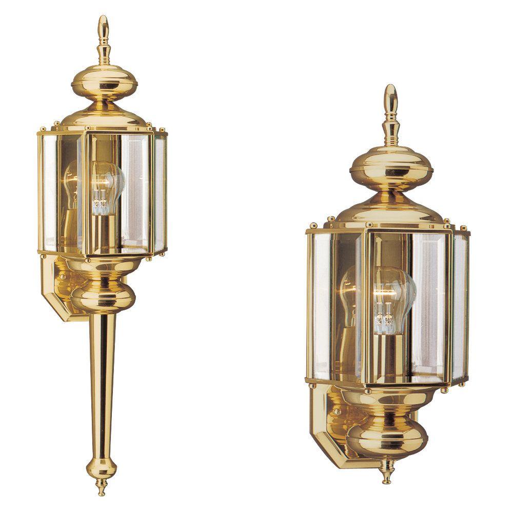 1-Light Polished Brass Outdoor Wall Lantern