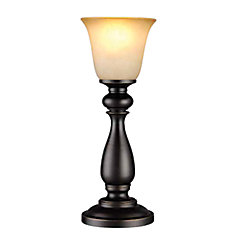 16-inch Uplight Buffet Table Lamp in Oil-Rubbed Bronze with Glass Shade