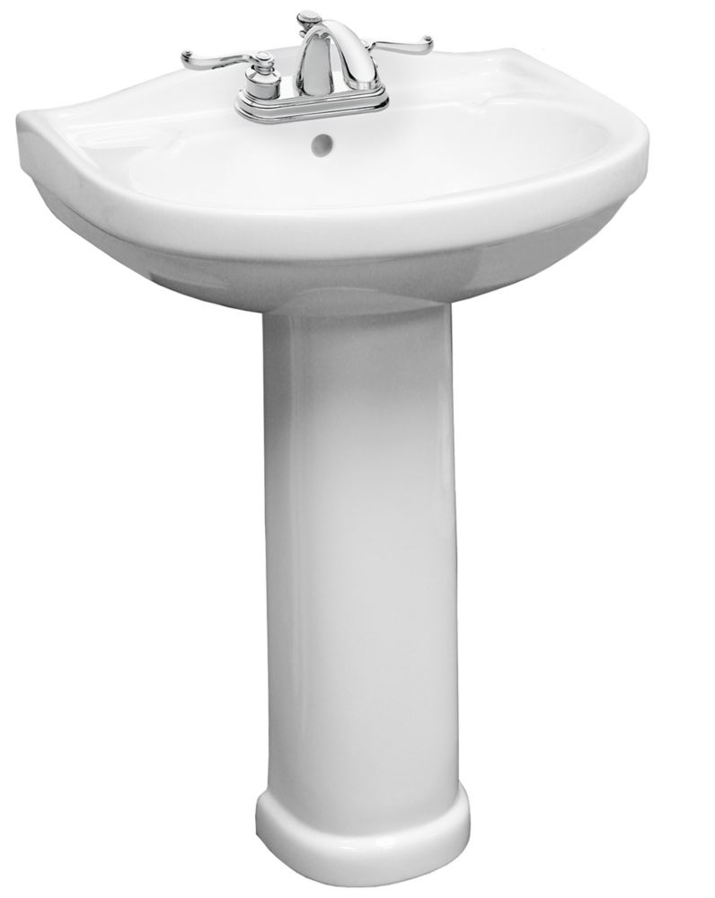 Tuxedo Bathroom Pedestal Sink with 4-inch Centre Faucet Drilling in White
