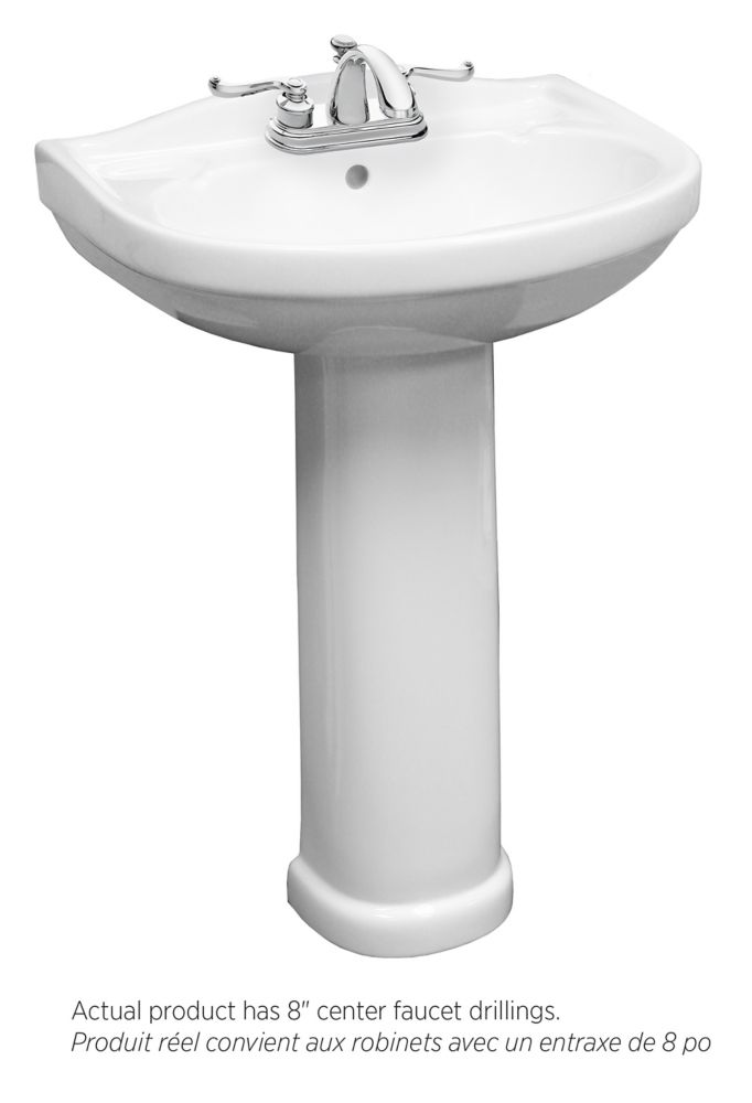 Foremost Tuxedo Bathroom Pedestal Sink with 8-inch Centre Faucet Drilling in White