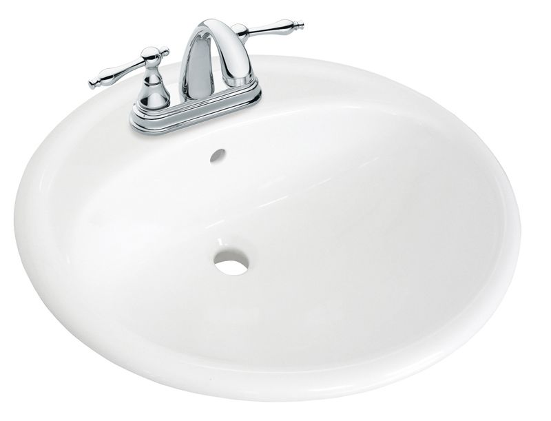 20 1/4-inch W x 17 1/8-inch D Oval Drop-In Bathroom Sink with 4-inch Centres in Tuxedo White